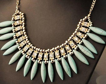 VINTAGE Turquoise Egyptian inspired bib collar necklace with crystal stones