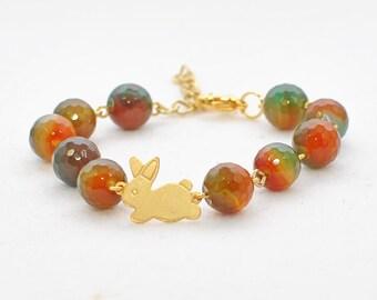 Bunny Bracelet Rabbit Jewelry Tessa - Golden Bunny Jewelry - Rabbit Bracelet - Bunny Beaded Bracelet - Bunny Rabbit Inspired