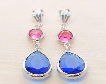Blue Pink Dangle Earrings Royal and Fuchsia Fusion - Pink Blue Crystal Earrings - Gift for Wife