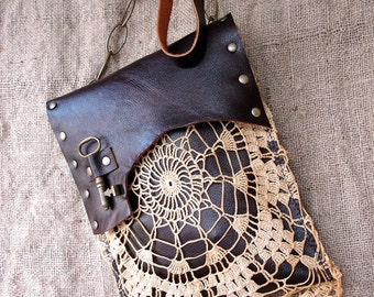 Boho Leather Festival Bag with Crochet Lace Doily and Antique  Key - MADE TO ORDER - One Of A Kind