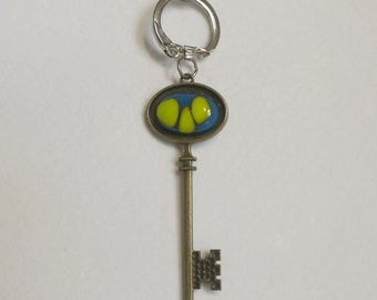 Fused glass key chain - Fused glass skeleton key - blue - lime green - glass keychain - skeleton key - skeleton key keychain with fuse glass
