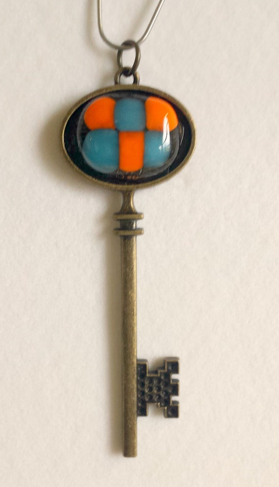 Fused glass key chain - Fused glass skeleton key - blue - orange- glass keychain - skeleton key necklace - skeleton key keychain fuse glass