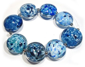 Winter Blues Lentils, Handmade  Glass SRA  Lampwork  Beads,