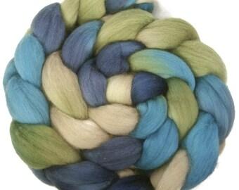 Handpainted Superfine Merino Wool Roving - 4 oz. BLUE EYES - Spinning Fiber