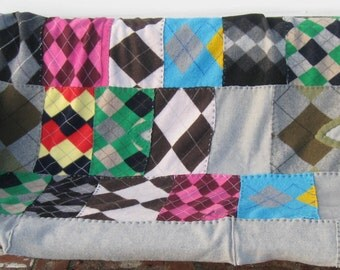 argyle blanket . argyle patchwork blanket . argyle lover . argyle Wool Blanket .  Wool Quilt . wool Throw made From Recycled Sweaters