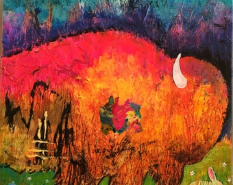 Buffalo & Bunny Original Painting by Caren Goodrich