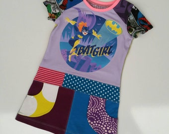 Size 3T (38 1/2  inch height) Upcycled shirt girls dress batgirl