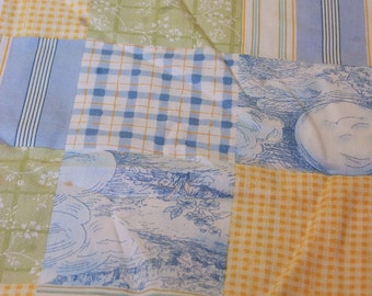 """Nursery Rhymes Blue and Yellow Patchwork Toile and Plaids 1 yds. x 44"""""""