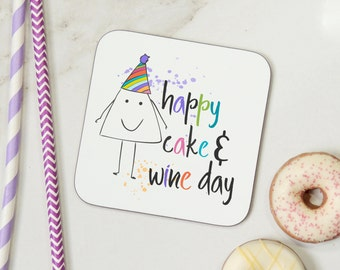 happy cake and wine day funny wooden birthday coaster gift - uk seller parsy card co