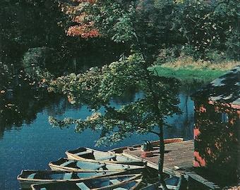 Vintage 1950s Postcard Pontiac Illinois Rowboat Lake Scenic Nature View Autumn Leaves Photochrome Era Postally Unused