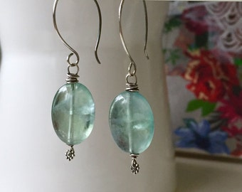 Green Flourite Earrings. Mineral jewelry, natural gem earrings. Handforged sterling silver earwires