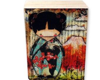 ACEO Giclee Fine Art Print on Pine Block - Kokeshi Posing with Fujiyama