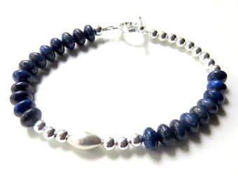 Lapis Gemstone Bracelet, Cobalt Blue Bracelet, Sterling Silver, Modern Blue Lapis Jewelry, Asymmetrical Design, Unique Gift for Her
