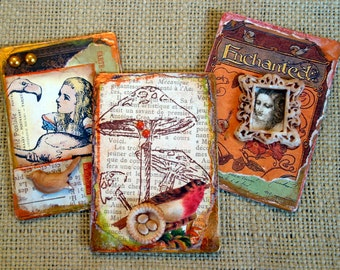 Enchanted Storybook Alice in Wonderland Refrigerator Magnets Mixed Media Recycled Upcycled Vintage  Original Collage Artwork Handcrafted