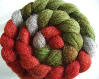 Shetland wool roving, spinning fiber, hand painted wool roving, felting wool, embellishing fiber, 3.5oz/100g