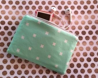 Crosses on Mint Green - Zipper Pouch, Pouch, Change Purse, Makeup bag