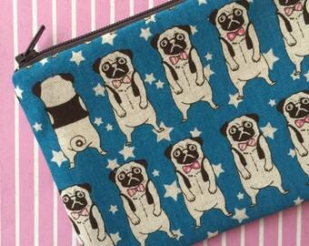 Pug print zipper pouch - Dog lovers bag