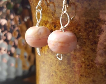 Pink Handmade glass bead sterling silver earrings