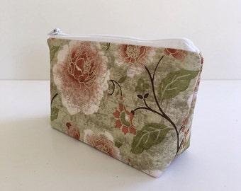 makeup bag, small cosmetic bag, green, floral, organizer pouch, gifts for women, zipper bag, deesdeezigns