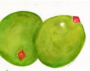 Olives watercolor painting original,  5 x 7, olive art,  kitchen, food art work, kitchen decor