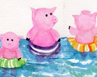 Swimming pigs watercolor painting When Pigs Float- Original Watercolor Painting 4 x 6, pigs painting, pig art, pig decor, pig painting