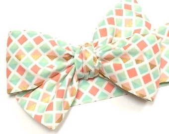 Head wrap, Girls Headwrap, Baby Headwrap, Girls Headband, Big Bow, Pink, Coral, Mint, Gold, - GOLD, MINT, CORAL Triangles