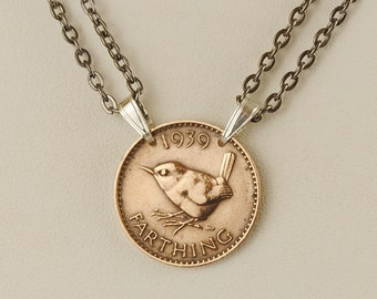 British Coin Necklace 1939 Farthing