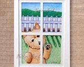 Framed ORIGINAL Art Drawing Terrier Dog KiniArt Window Outsider