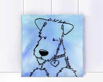 ORIGINAL Acrylic Canvas Painting Terrier DOG Art