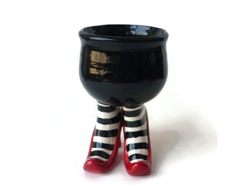 Sex Pot with Ruby Red Heels and Striped Stockings