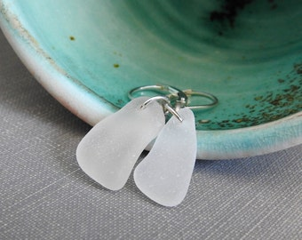 Beach Glass Earrings, Silver Earrings, Beach Glass, Lake Superior Glass, Clear Frosted, Silver Jewelry, Glass Jewelry, Eco Friendly