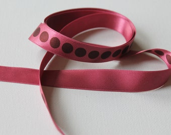 "Raspberry and Brown Dots Chiffon Ribbon 5/8"", 1 yard (multiple yards available)"