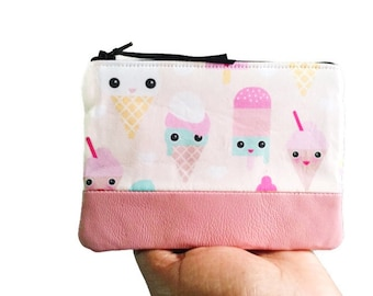 Pastel Ice Cream Pink Leather Coin Purse, Leather Zipper Pouch, Pink Change Purse, Change Wallet, 144 Collection, Gift for Her