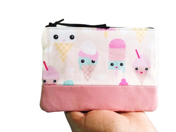 Pastel Ice Cream Pink Leather Coin Purse, Small Wallet, Leather Pouch, Pink Change Purse