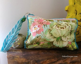 Hand Painted Cabbage Roses, Sanderson, Vintage Linen Purse,  Roses, Floral Bag, Hand Sewn, Pouch, Boho Purse, Clutch, Rustic