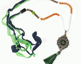 Tassel Pendant Long Beaded Necklace Festival Wear, Hippie boho Free Spirit Style, Crinkly Ribbons, bronze filigree pendant, Yogini
