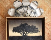 Tree of LIfe. Original Mixed Media Art. Wall Decor. Cigar Box. Retablo. Housewarming Gift. Wall Art. SUNSET SUNRISE by Mikel Robinson