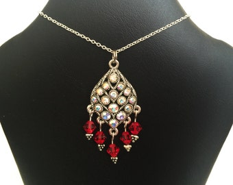 Necklace Pendant Italy 925 Sterling Silver Silver Tone Swarovski Crystal Red Clear AB 18 Inches N18A
