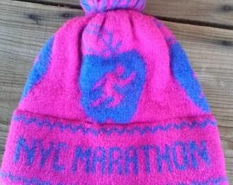 Vintage 1980s Knit Hat NYC Marathon Pom Pom 80s Ski Cap 2015494