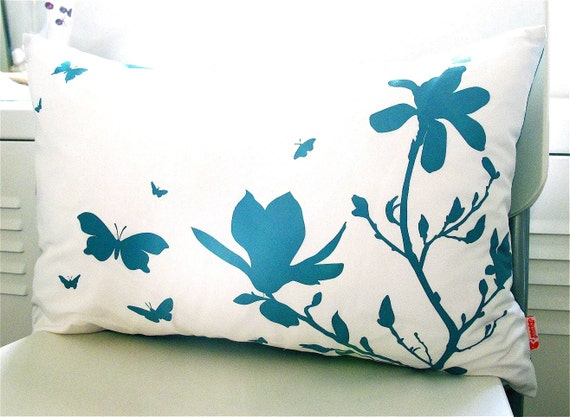 Limited Time Sale Teal Print on Off White Cotton Magnolia and Butterflies Rectangle Pillow