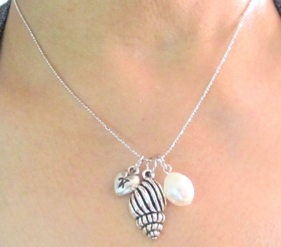 Personalized Shell Necklace initial necklace Oyster Charm with pearl necklace hand stamped Spindle Sea Shell Necklace  Free shipping In USA