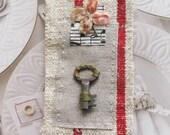 Miniature art quilt, antique key, velvet flower, vintage linen