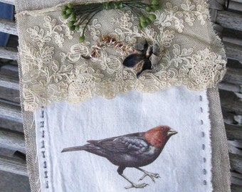 Prayer flag for Nature, textile art, hand stitched, bird
