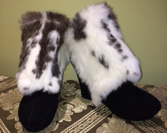 "Silver Unicorn Matching Rabbit Boot Spats and ""Hoof"" Booties: Size 9 Ladies"