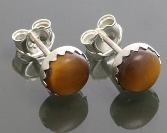 Tiger Eye Stud Earrings. Sterling Silver. Genuine Gemstone. Golden Brown. Bezel Settings. 6mm Round. f15e003