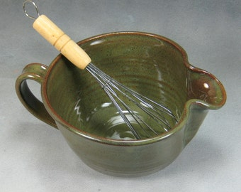 Small Green Ceramic Batter Bowl With Whisk Hand Thrown Stoneware Pottery Bowl 5