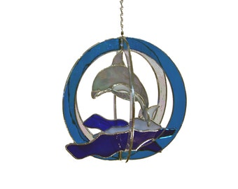 Double Dolphin Stained Glass Suncatcher Whirl