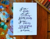"benediction.  5x7 inch print.  ""live simply. love generously. speak truthfully. serve faithfully..."" quote by Fred B. Craddock"