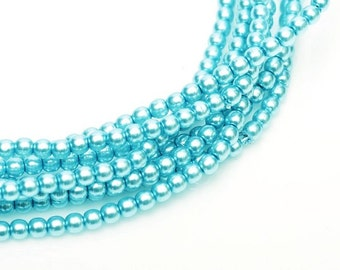 2mm Pastel Shiny Turquoise Czech Round Glass Pearls Beads 50 pcs