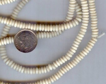 "AA Quality Natural Ivory Color Bone Disc Beads 5mm 16"" strand"